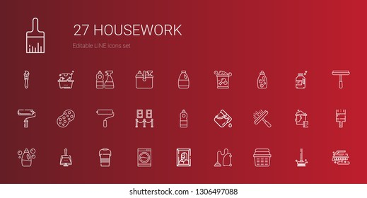 housework icons set. Collection of housework with laundry, vacuum cleaner, painting, washing machine, bucket, dustpan, detergent, window cleaner. Editable and scalable housework icons.