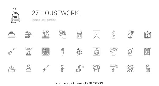 housework icons set. Collection of housework with paint roller, detergent, glove, scoop, broom, window cleaner, laundry, washing machine. Editable and scalable housework icons.