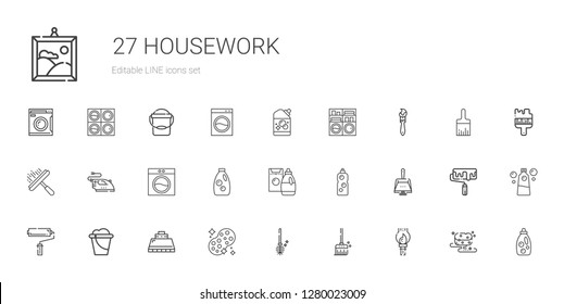 housework icons set. Collection of housework with paint brush, broom, toilet brush, sponge, hood, bucket, paint roller, dustpan, detergent. Editable and scalable housework icons.