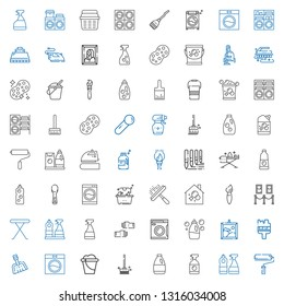 housework icons set. Collection of housework with paint roller, window cleaner, detergent, brushes, bucket, washing machine, dustpan, brush. Editable and scalable housework icons.