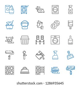 housework icons set. Collection of housework with roller, brush, washing machine, hood, dustpan, window cleaner, bucket, scoop, paint roller. Editable and scalable housework icons.