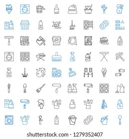 housework icons set. Collection of housework with scoop, bucket, sponge, detergent, washing machine, vacuum cleaner, cleaning, paint roller. Editable and scalable housework icons.