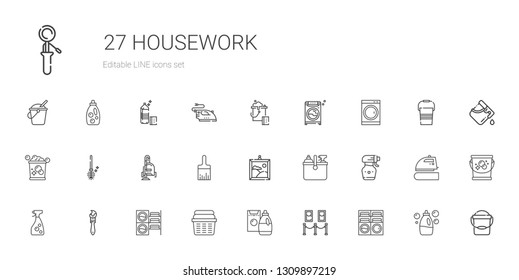 housework icons set. Collection of housework with washing machine, painting, detergent, laundry, paint brush, window cleaner, spray bottle. Editable and scalable housework icons.
