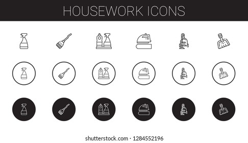 housework icons set. Collection of housework with window cleaner, broom, iron, vacuum cleaner, dustpan. Editable and scalable housework icons.