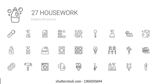 housework icons set. Collection of housework with window cleaner, toilet brush, brush, iron, washing machine, paint roller, sponge, painting. Editable and scalable housework icons.
