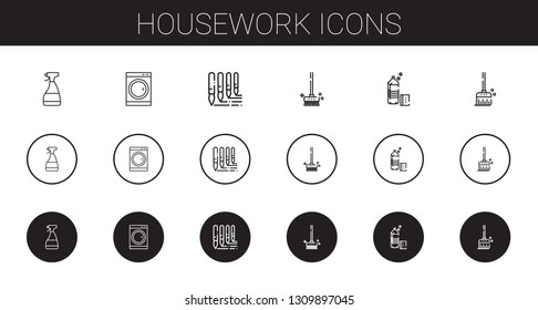 housework icons set. Collection of housework with window cleaner, washing machine, brushes, detergent, broom. Editable and scalable housework icons.