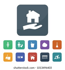 Housework icons. vector collection filled housework icons such as bucket, broom, bucket and broom, sponge, house clean, garbage stock, drying clothes, man with vacuum cleaner