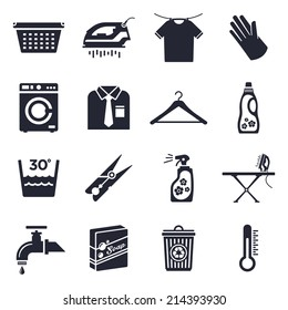 Housework and laundry theme, black and white icons.