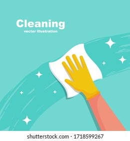 Houseworker wipes the surface with a napkin. Protective rubber yellow gloves on the hands. Cleaning with spray detergent. Hygiene home vector. Cleaning and disinfection. Housekeeping service concept.