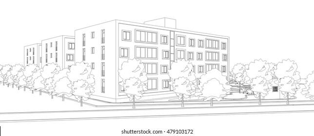 housing architectural 3d view