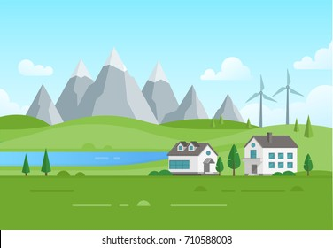 Housing estate with windmills by the lake - modern vector illustration. Landscape with mountains, trees, small low storey suburban houses, blue sky with clouds. Concept of ecofriendly town