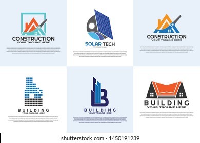 Housing logo collection. home vector logo design. architect sign or symbols. architecture icons. building and construction. house repairs. vector illustration element