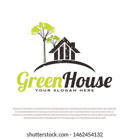 housing logo design with a greenhouse concept. housing sign. house symbol. housing. for business cards. property icon. building architecture. vector illustration elements