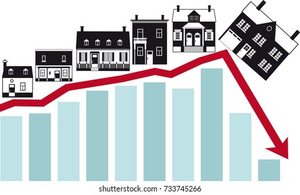 Housing market collapse, conceptual vector illustration, EPS 8