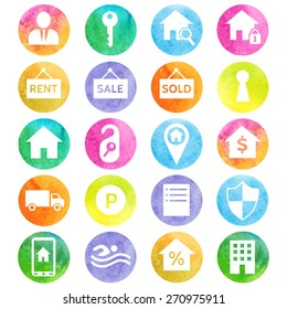 Housing and real estate watercolor icons. Vector illustration.