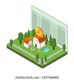 housing savings isometreic illustration