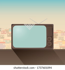 housing shape television in Turkey in the old year, the lace veil, old buildings in the background. Vector drawing