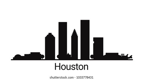 Houston city outline skyline. All Houston buildings - customizable objects, so you can simple change skyline composition. Minimal design.
