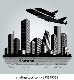 Houston city silhouette, vector illustration
