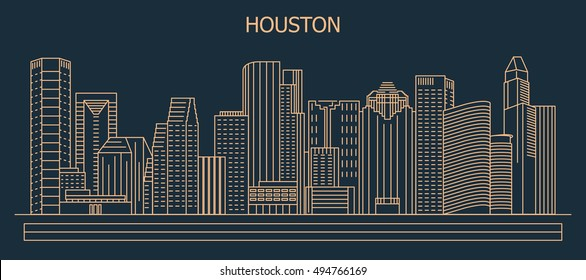 Houston city skyline, vector illustration in linear style.  Texas, United States. Downtown of Houston.
