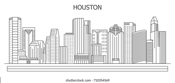 Houston city skyline, vector illustration in linear style.  Texas, United States. Downtown. Isolated on white background
