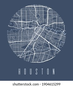 Houston map poster. Decorative design street map of Houston city. Cityscape aria panorama silhouette aerial view, typography style. Land, river, highways, avenue. Round circular vector illustration.