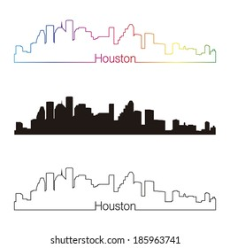 Houston skyline linear style with rainbow in editable vector file