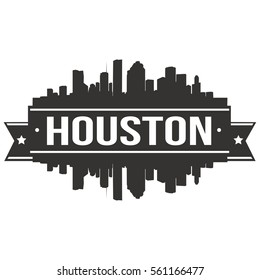 Houston Skyline Stamp Silhouette Stamp. Reflection Landscape City Design. Vector Cityscape Icon.
