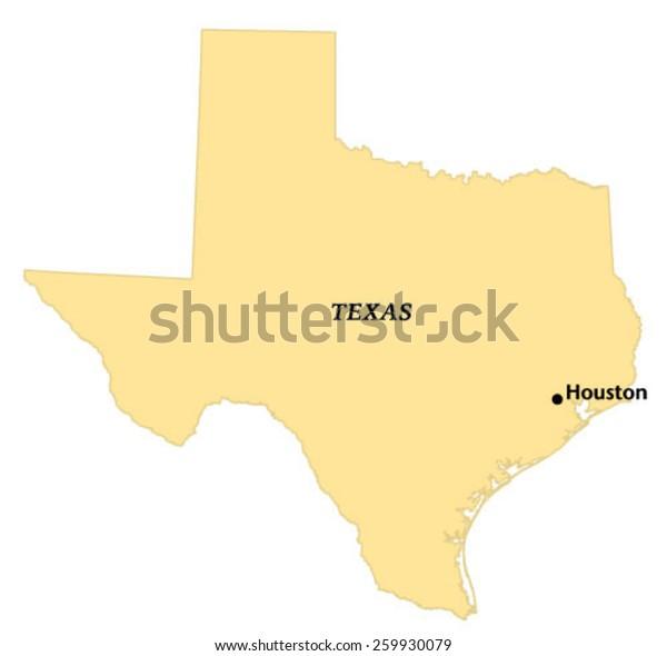 Houston Texas Locate Map Stock Vector Royalty Free 259930079