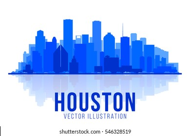 Houston Texas silhouette vector illustration. Main buildings panorama. tourism and business picture with city skyline.