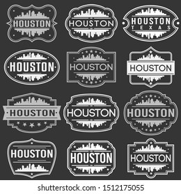 Houston Texas Skyline. Premium Quality Stamp Frames. Grunge Design. Icon Art Vector. Old Style Frames.