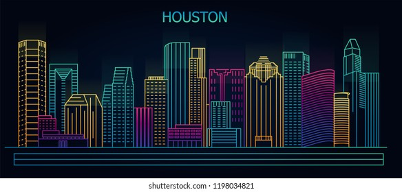 Houston, Texas, USA downtown city skyline at night. Vector illustration
