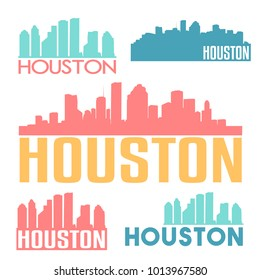 Houston Texas USA Flat Icon Skyline Silhouette Design City Vector Art Famous Buildings Color Set