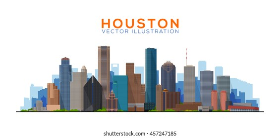 Houston Texas vector illustration. Main buildings panorama. tourism and business picture with Houston city skyline.