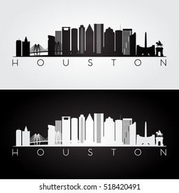 Houston USA skyline and landmarks silhouette, black and white design, vector illustration.