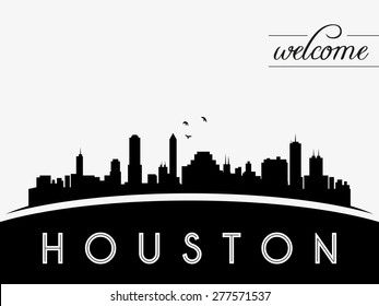 Houston USA skyline silhouette, black and white design, vector illustration