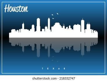 Houston, USA skyline silhouette vector design on parliament blue background.