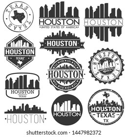 Houston USA Skyline Vector Art Stamps. Silhouette Emblematic Buildings.