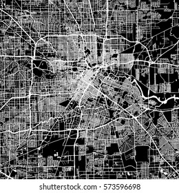 houston vector map artprint black landmass white water and roads