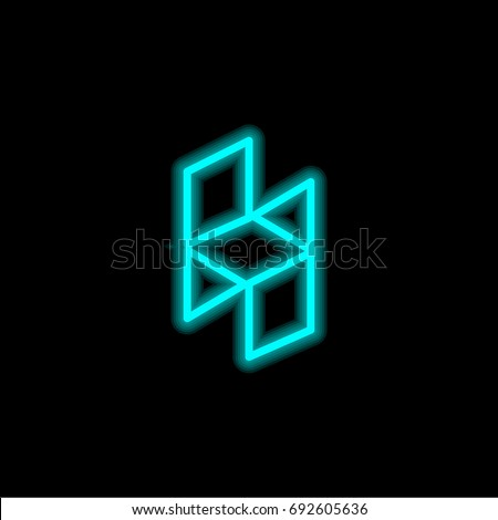 Houzz Blue Glowing Neon Ui Ux Stock Vector Royalty Free 692605636