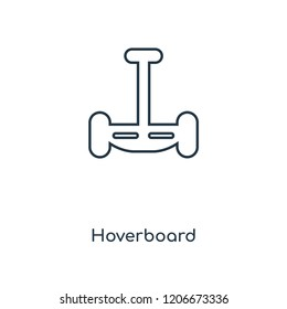 Hoverboard concept line icon. Linear Hoverboard concept outline symbol design. This simple element illustration can be used for web and mobile UI/UX.