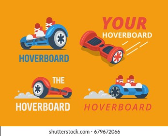 hoverboard logo set, vector illustration.