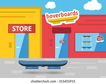 Hoverboard on the street future scene vector illustration
