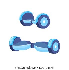 Hoverboard scooter for teenagers isolated icons set vector. Self-balancing electric transport with wheels, gyroscooter,r modern balance skating board