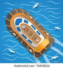 Hovercraft. View from above. Vector illustration.