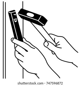 How to affix Mezuzah with hands with hammer on door frame. Black Mezuzah with white Hebrew letter. Black and white illustration on white background.
