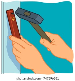 How to affix Mezuzah with hands with hammer on door frame. Red Mezuzah with golden Hebrew letter. Colored illustration on blue background.