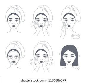 How to apply face mask instrustion for women. Step-by-step guide to facial cream mask usage. Skin care and acne treatment. Isolated line vector illustration
