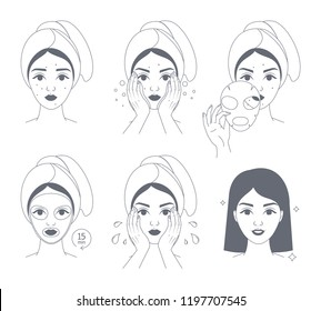 How to apply face mask instrustion for women. Step-by-step guide to facial mask usage. Skin care and acne treatment. Beauty and health. Isolated line vector illustration