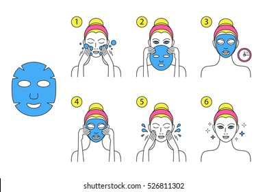 How to apply facial cosmetic mask, line color icons set. Vector illustration in linear style, isolated.